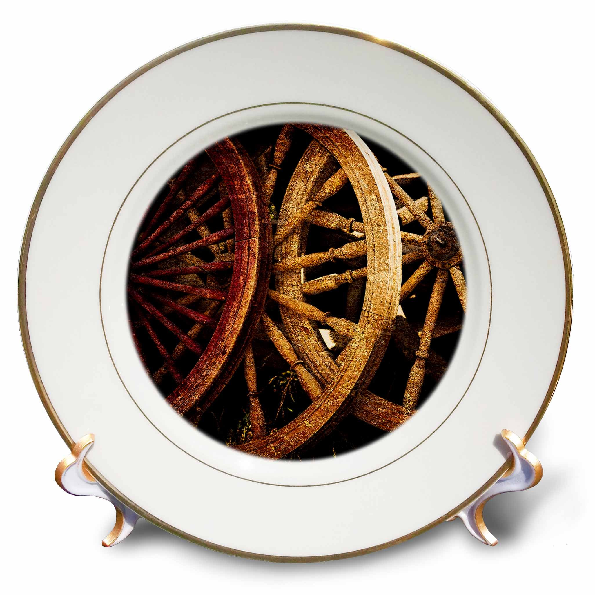 3dRose Alexis Photography - Objects - Golden age technologies - spinning wheels spare parts. Stylized photo - 8 inch Porcelain Plate (cp_270867_1)