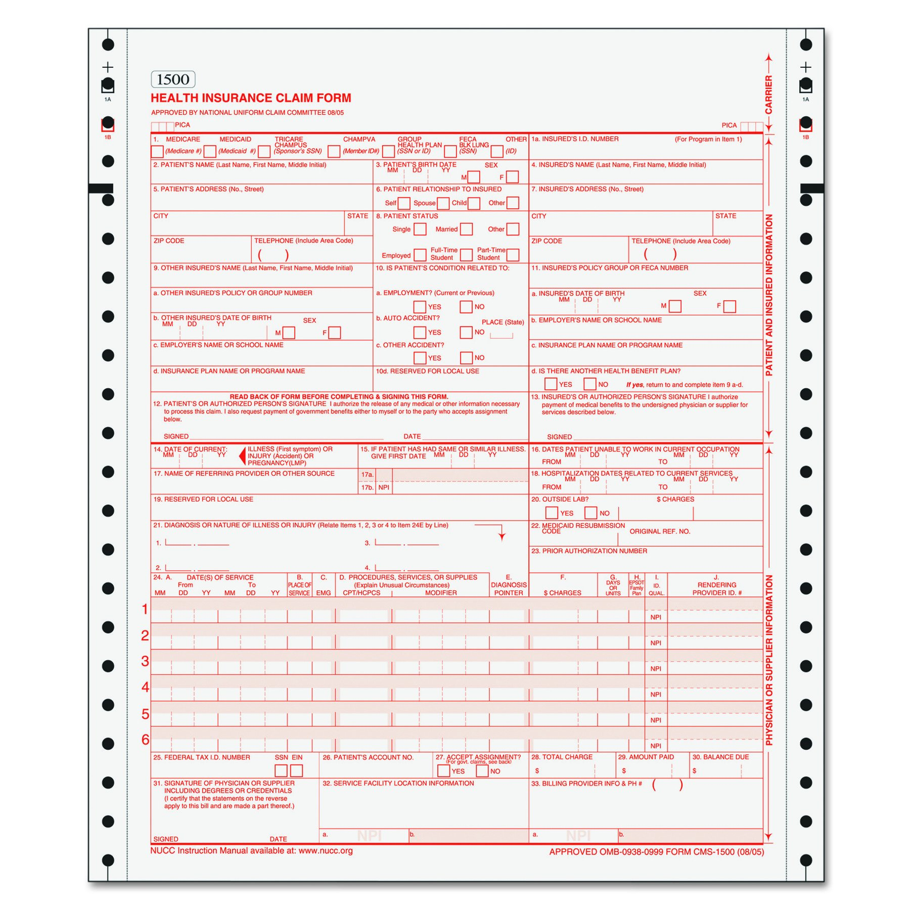 TOPS 50124RV Centers for Medicare and Medicaid Services Forms, Two-Part (Case of 1500 Forms)