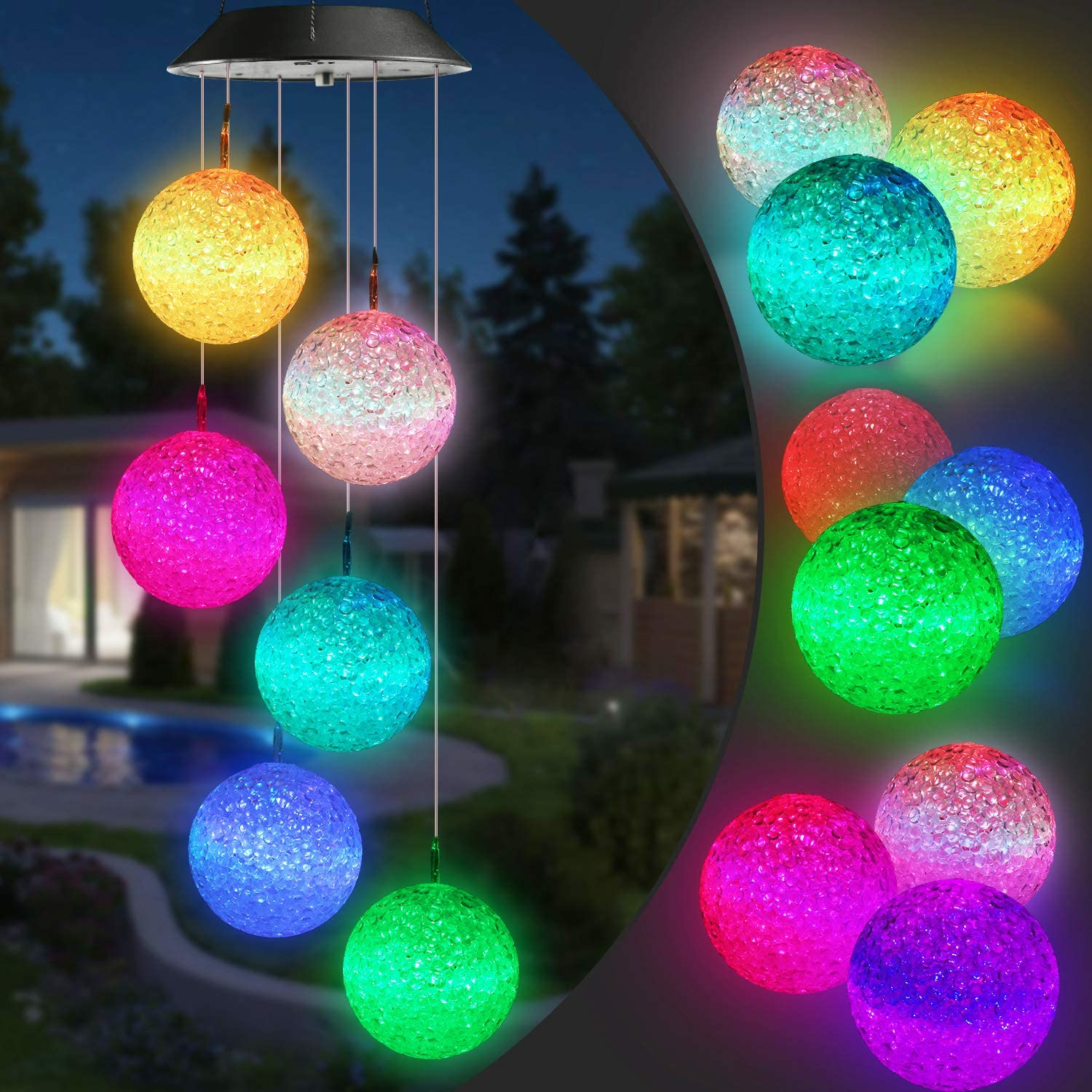 for Home Party Porch Deck Garden Decor Colored LED Solar Wind Chime Outdoor Waterproof Solar Panel LED Dragonfly Wind Chimes Home Garden Decor Light Lamp