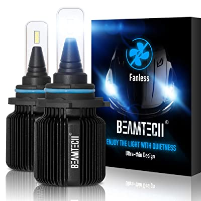 BEAMTECH 9006 LED Headlight Bulbs,Fanless CSP Y19 Chips 8000 Lumens 6500K Xenon White HB4 Extremely Bright Conversion Kit of 2: Automotive