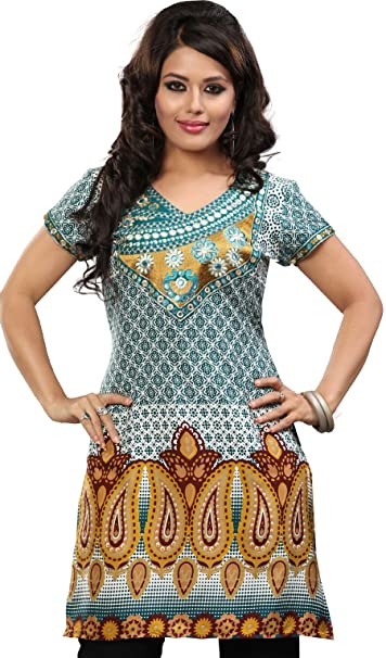 Indian Túnicas Kurti Larga Para Mujer De La India Impreso Apparel (Verde, XXXL)