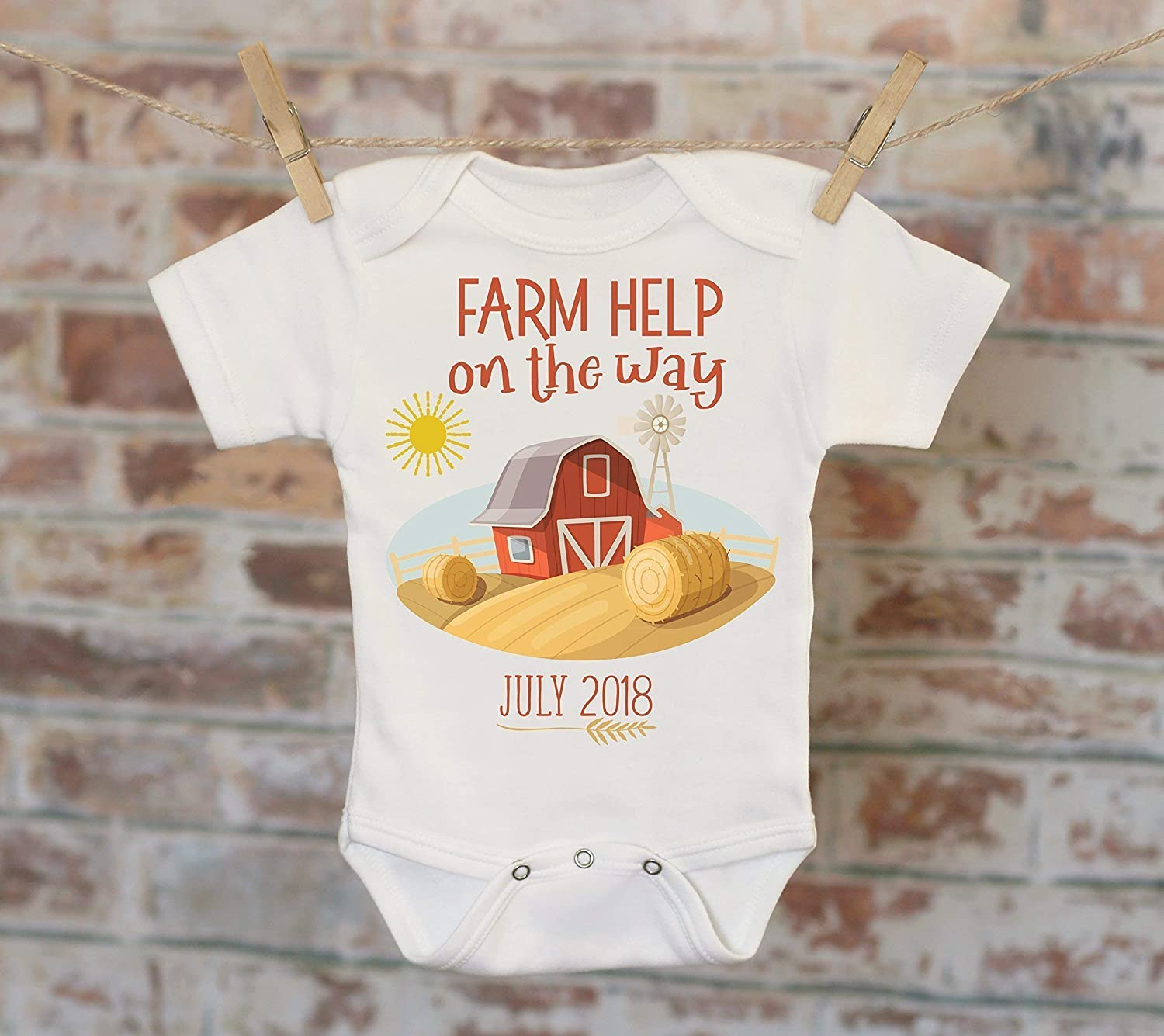 1d9ddbb9cf92a Farm Help On The Way Barn Customized Onesie®, Baby Shower Gift, Customized  Onesie, Pregnancy Announcement, Pregnancy Reveal Onesie