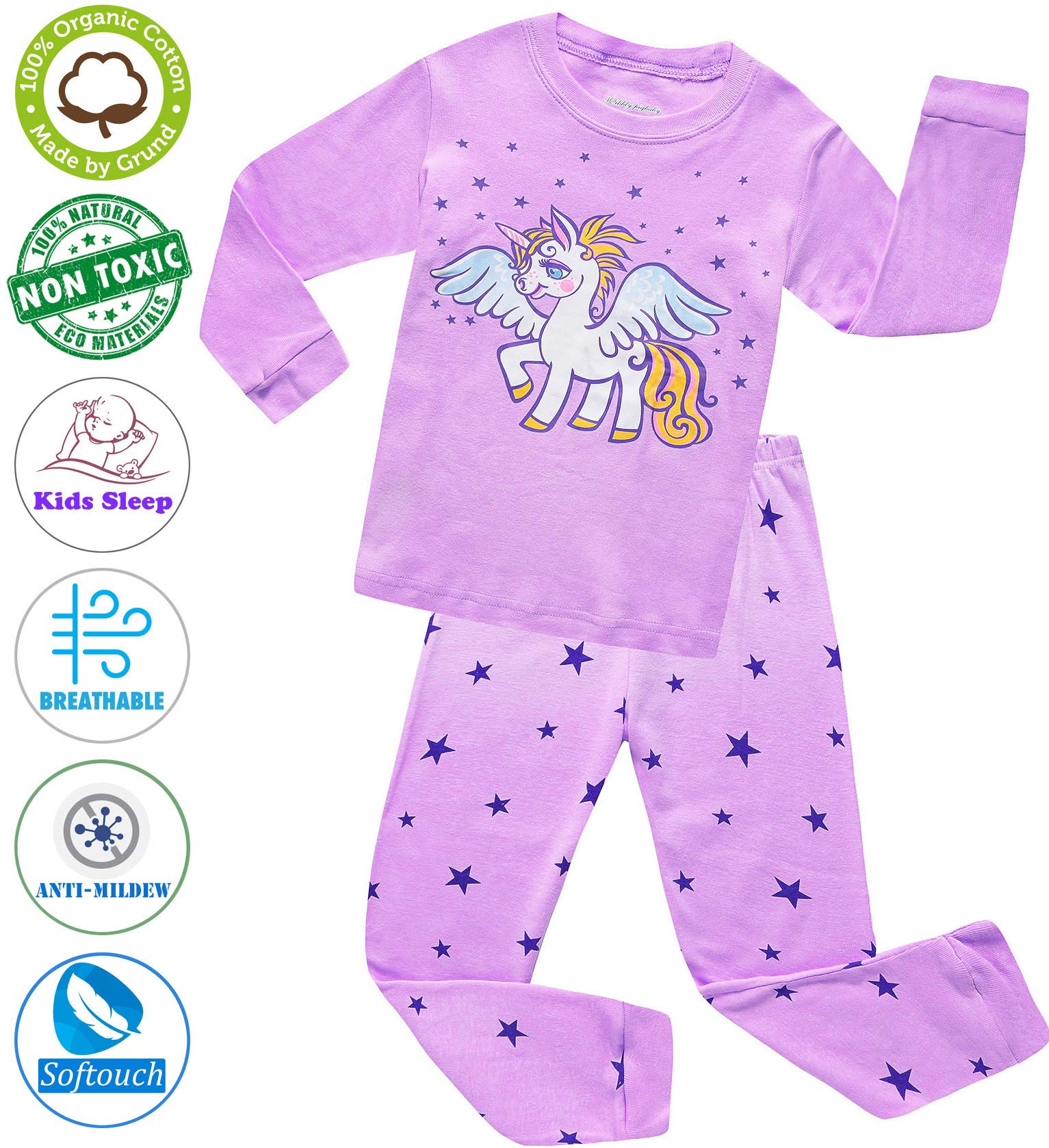 Girls Pajamas Clothes Sleepwear 100% Cotton PJS for Toddlers Children Kids Unicorn Style (Purple (Unicorn), 5)
