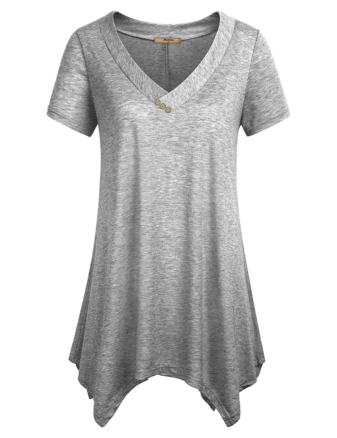 Miusey Womens Short Sleeve V Neck Flowy Tunic Top