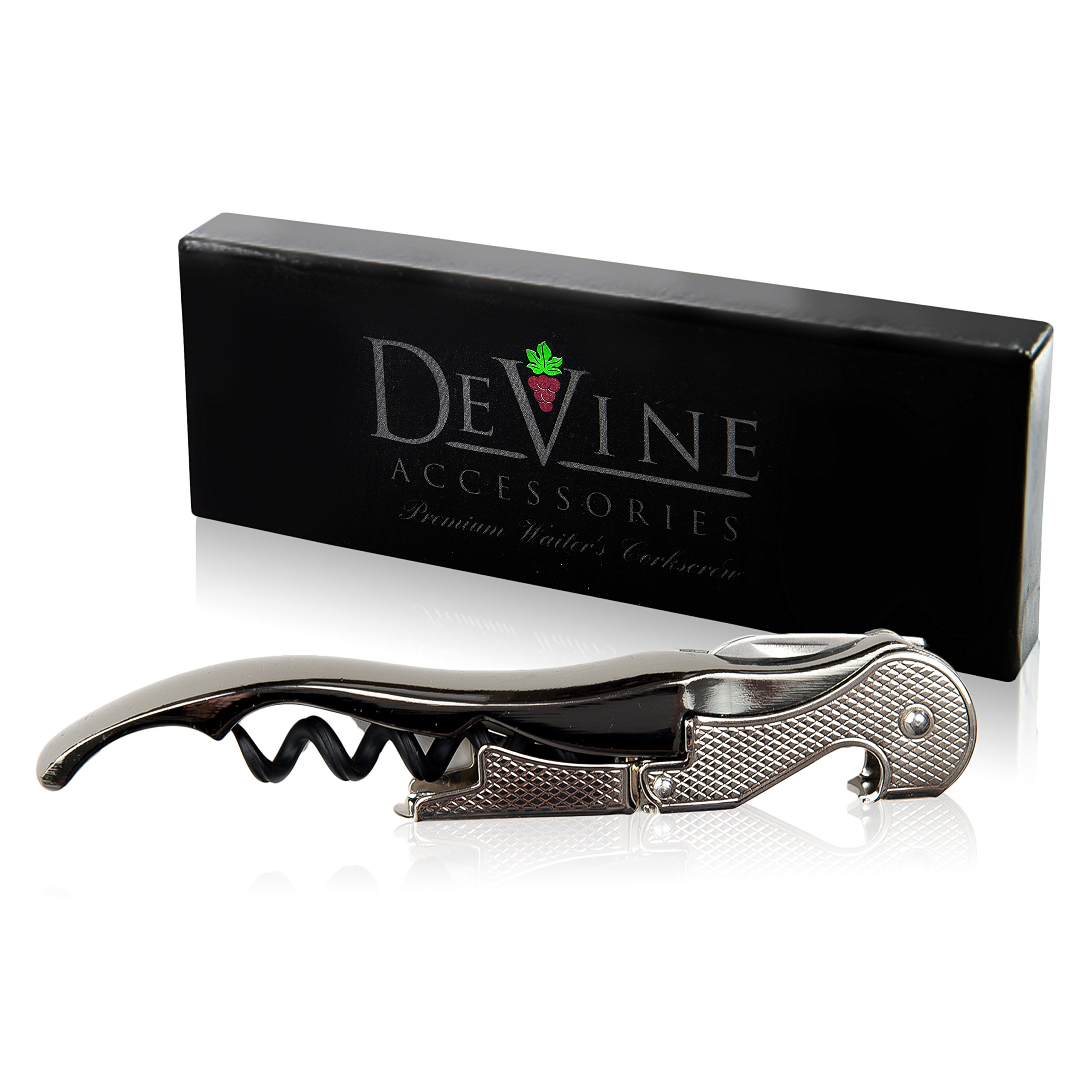 Premium Waiter's Corkscrew – Professional Grade Handheld Wine and Bottle Opener with Metalic Handle, Double Hinged Lever and Foil Cutter - by DeVine Accessories by DeVine Accessories (Image #3)