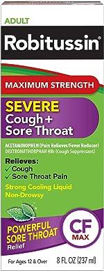 Robitussin Adult Maximum Strength Severe Cough + Sore Throat Relief Medicine,