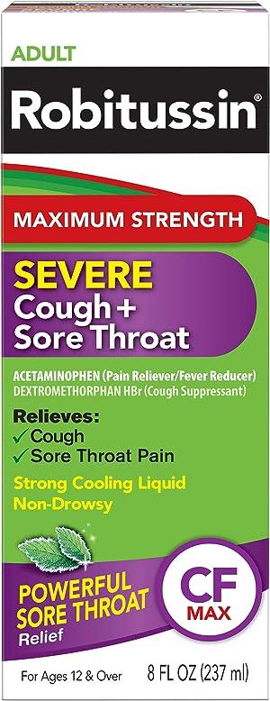 Robitussin Adult Maximum Strength Severe Cough + Sore Throat Relief Medicine, Cough Suppressant, Acetaminophen, 8 Fluid Ounce