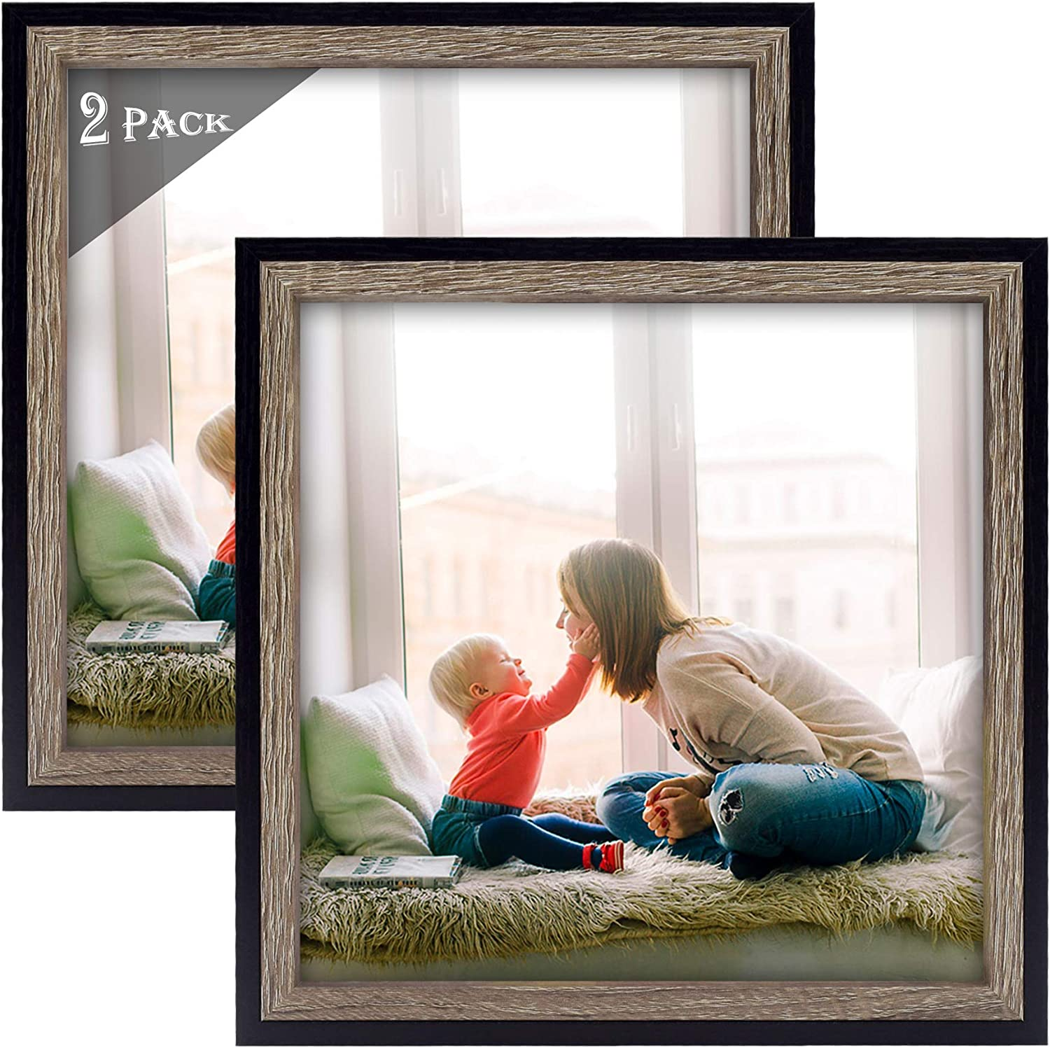 Golden State Art, Set of 2 Multicolored Molding Picture Frame for Desk Display and Wall Display - Great for Baby Pictures, Weddings, Portraits (8x8, Black/Grey)