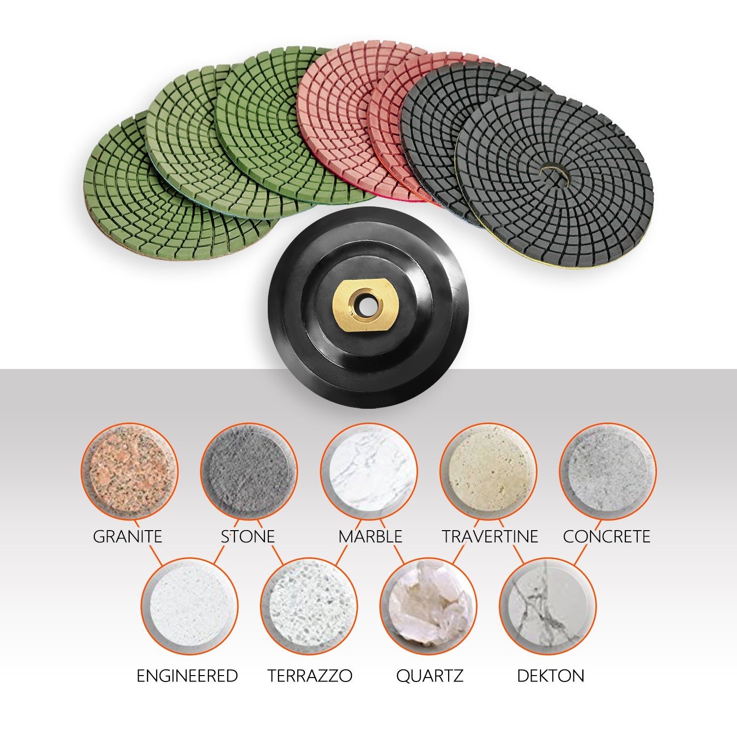 SPTA 8pcs Diamond Wet Polishing Pads Set For Granite Stone Concrete Marble Floor Grinder or Polisher, 50#-3000# with Hook & Loop Backing Holder Disc (4 inch) by SPTA (Image #5)