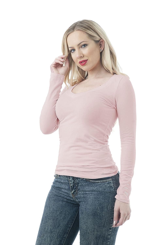 Hollywood Star Fashion Camiseta para Mujer, Manga Larga, Cuello EN Pico