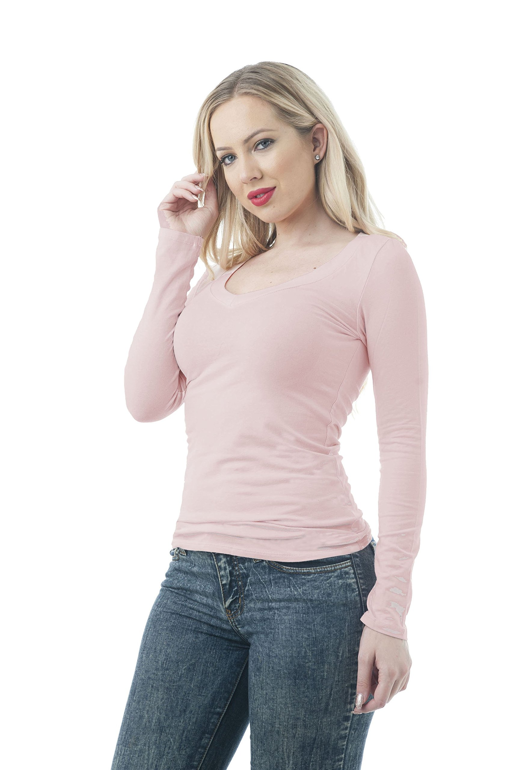 Hollywood Star Fashion Womens Long Sleeve V Neck Top (Large, Blush)
