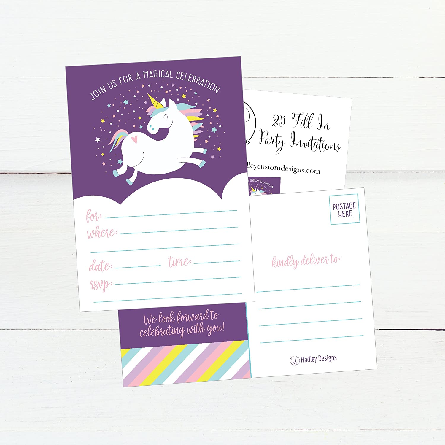 Amazon 25 Unicorn Rainbow Party Invitations For Kids Teens