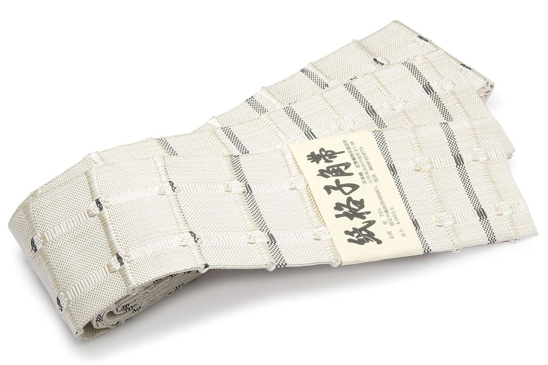 角帯 未仕立て 近賢織物謹製 白系 灰色 市松格子 米沢織 宝来織 和紙 日本製 B07FXF63KM