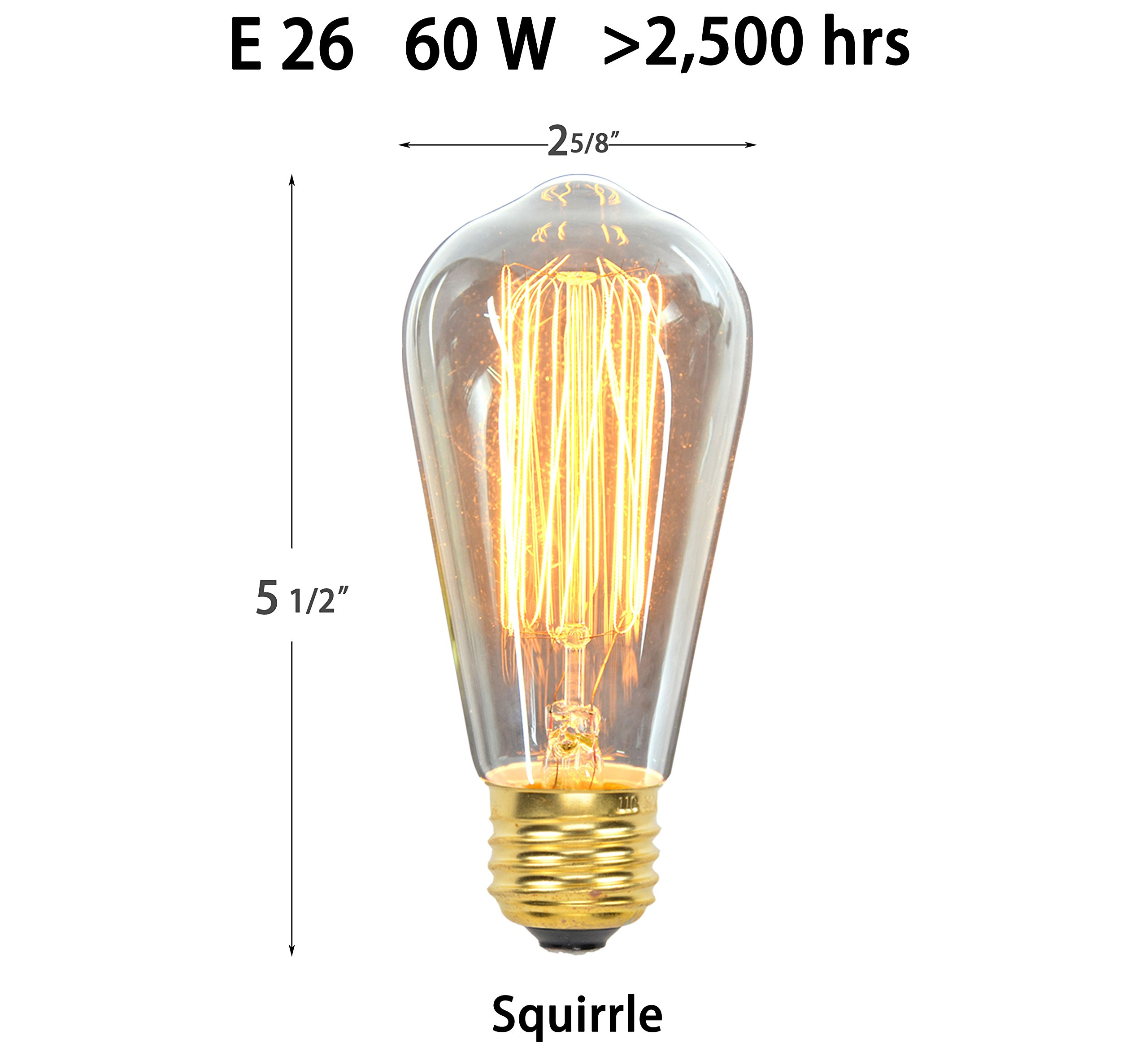 Vintage Edison Light Bulbs (6 Pack), 60W, ST64, E26, Squirrel Cage, Dimmable,Clear Glass, Industrial Vintage Incandescent Bulbs by Youngever (Image #3)