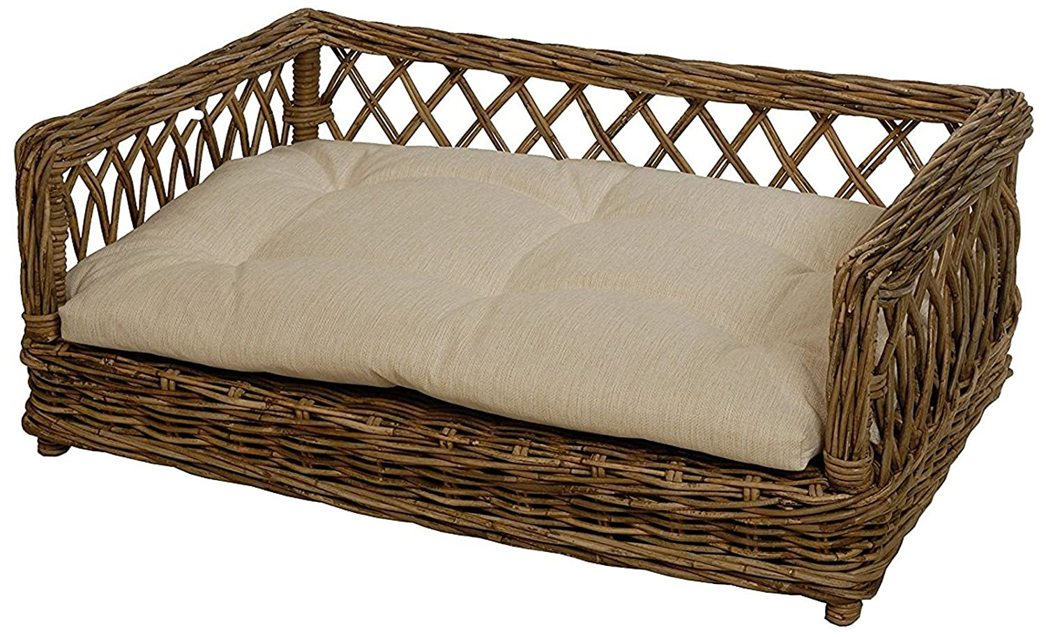 Lucky Dog Bed Dog Basket Wicker with Beige Cushion Size XL