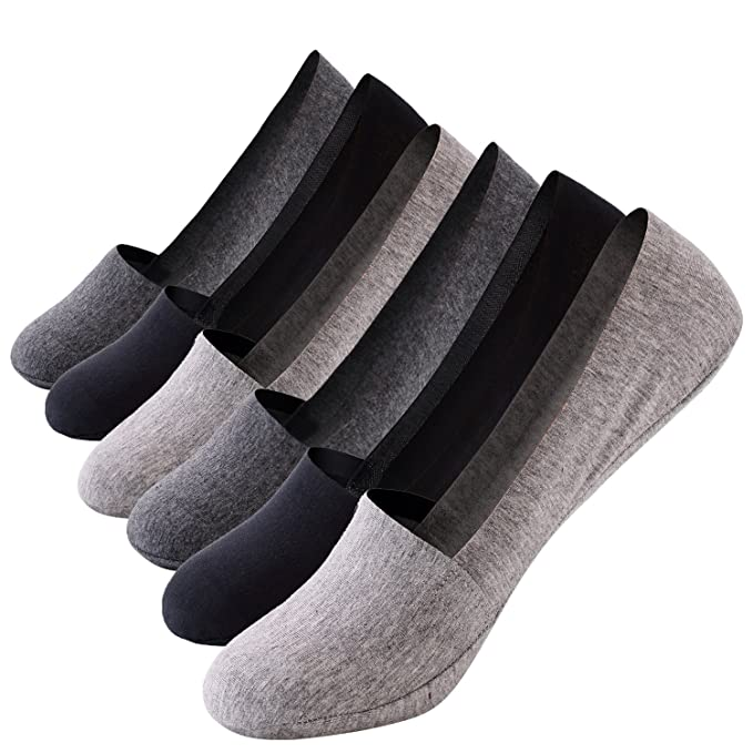 3bc854912c4b Image Unavailable. Image not available for. Color: No Show Socks Mens Non-Slip  Grips Casual Low Cut Boat Sock 6 Pack