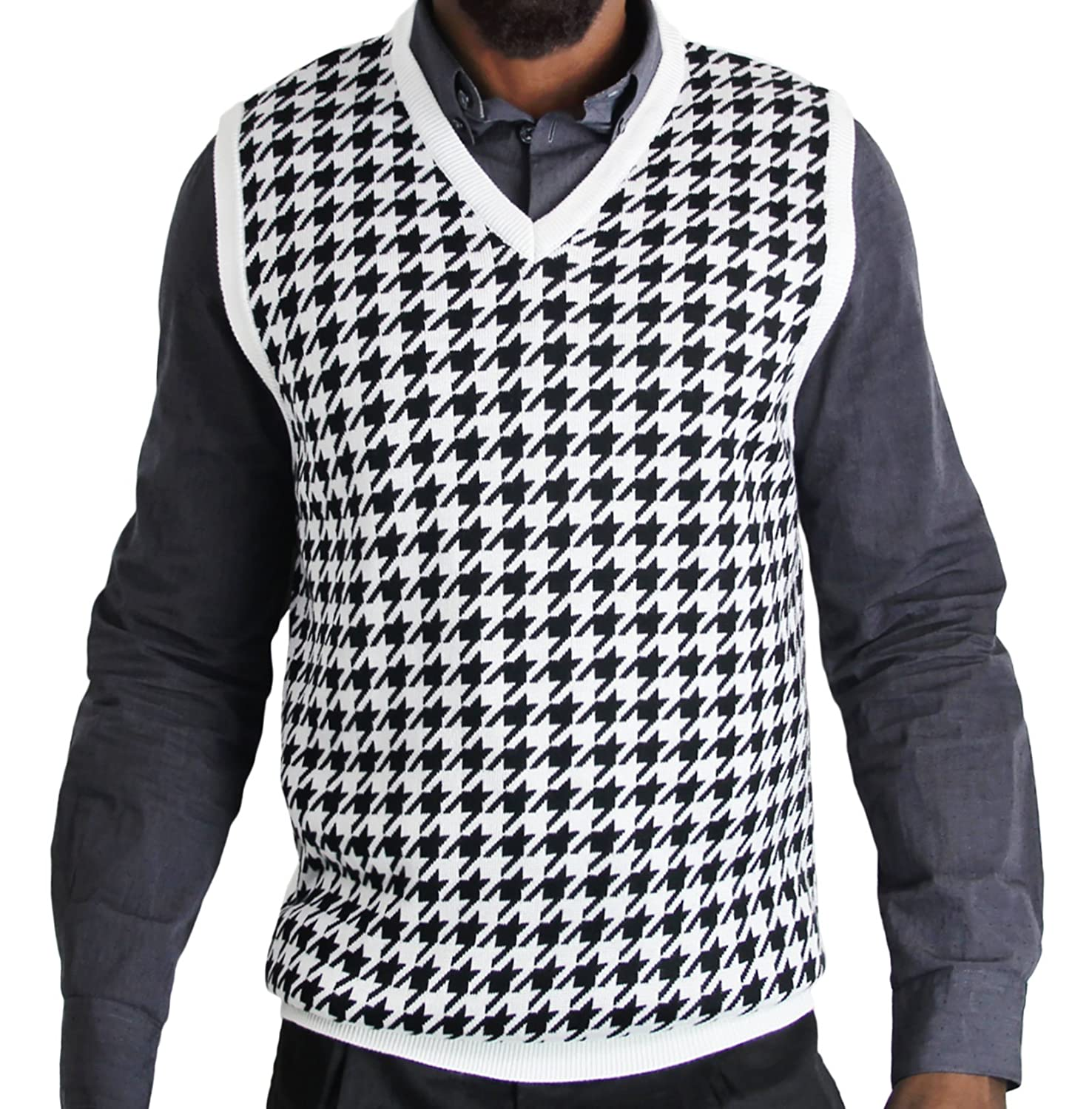Blue Ocean Jacquard Houndstooth Sweater Vest at Amazon Men's ...