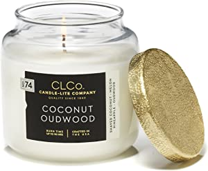 CLCo. by Candle-Lite Company Scented Coconut Oudwood Single-Wick Jar, 14 oz, White
