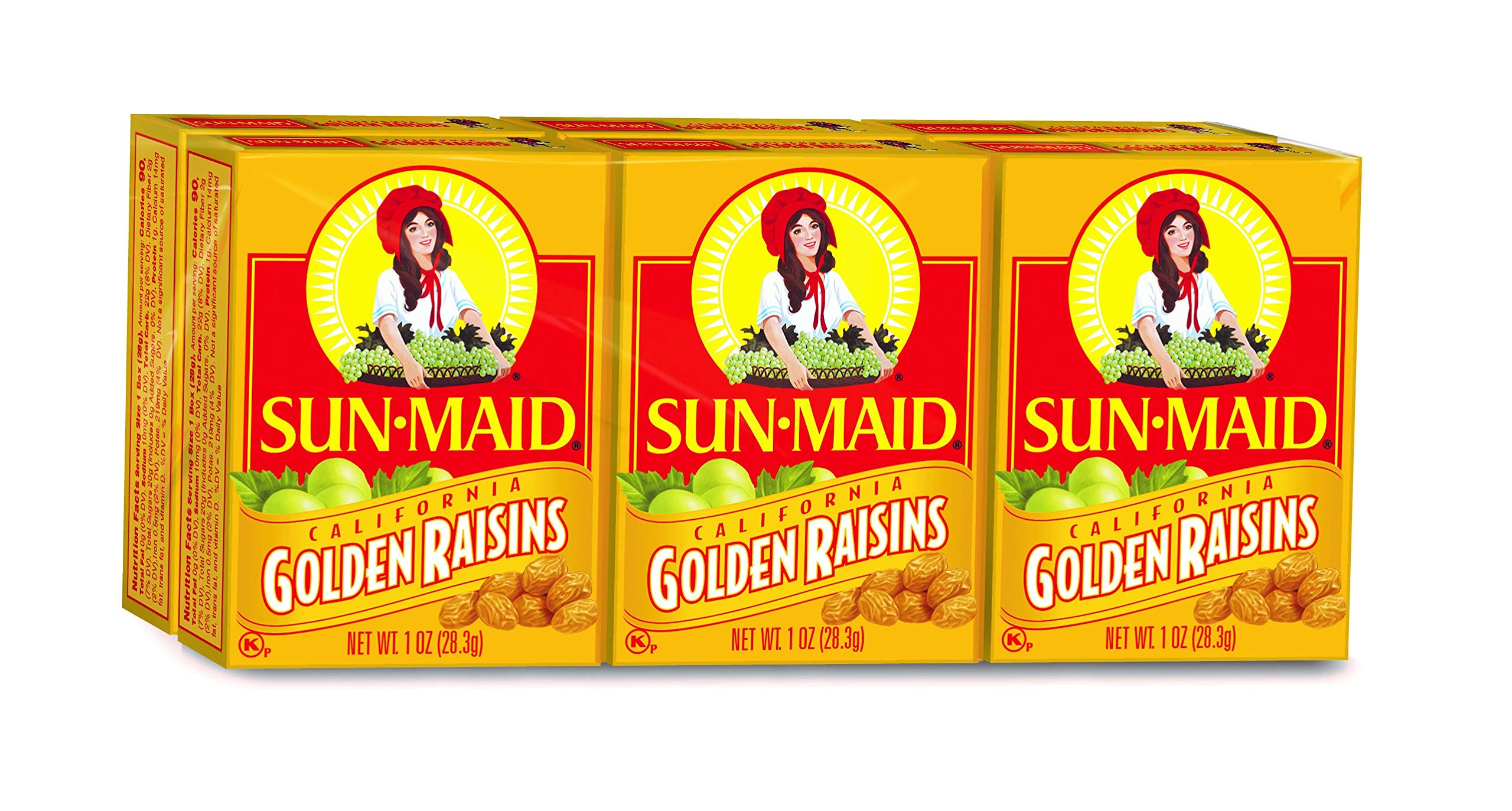 Sun Maid California Golden Raisins (1-Ounce), 6-Count Boxes (Pack of 12) by Sun Maid