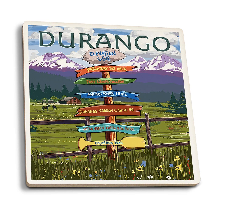 デュランゴ、コロラド州 - サインポスト。 4 Coaster Set LANT-54989-CT 4 Coaster Set  B07HFK8KTW