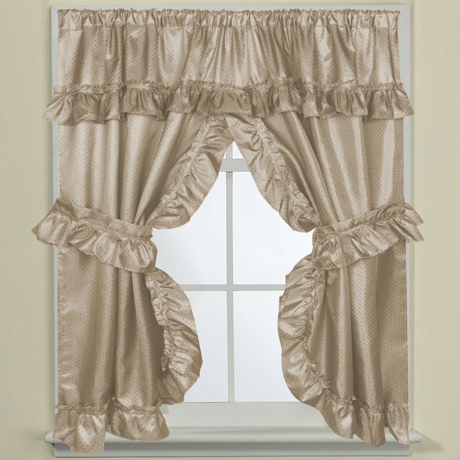 Sweet Home Collection Fabric Bathroom Window Curtain 70'' x 45'' Hotel Quality Treatment Set of Two Durable Panels with Pair of Tiebacks, Linen