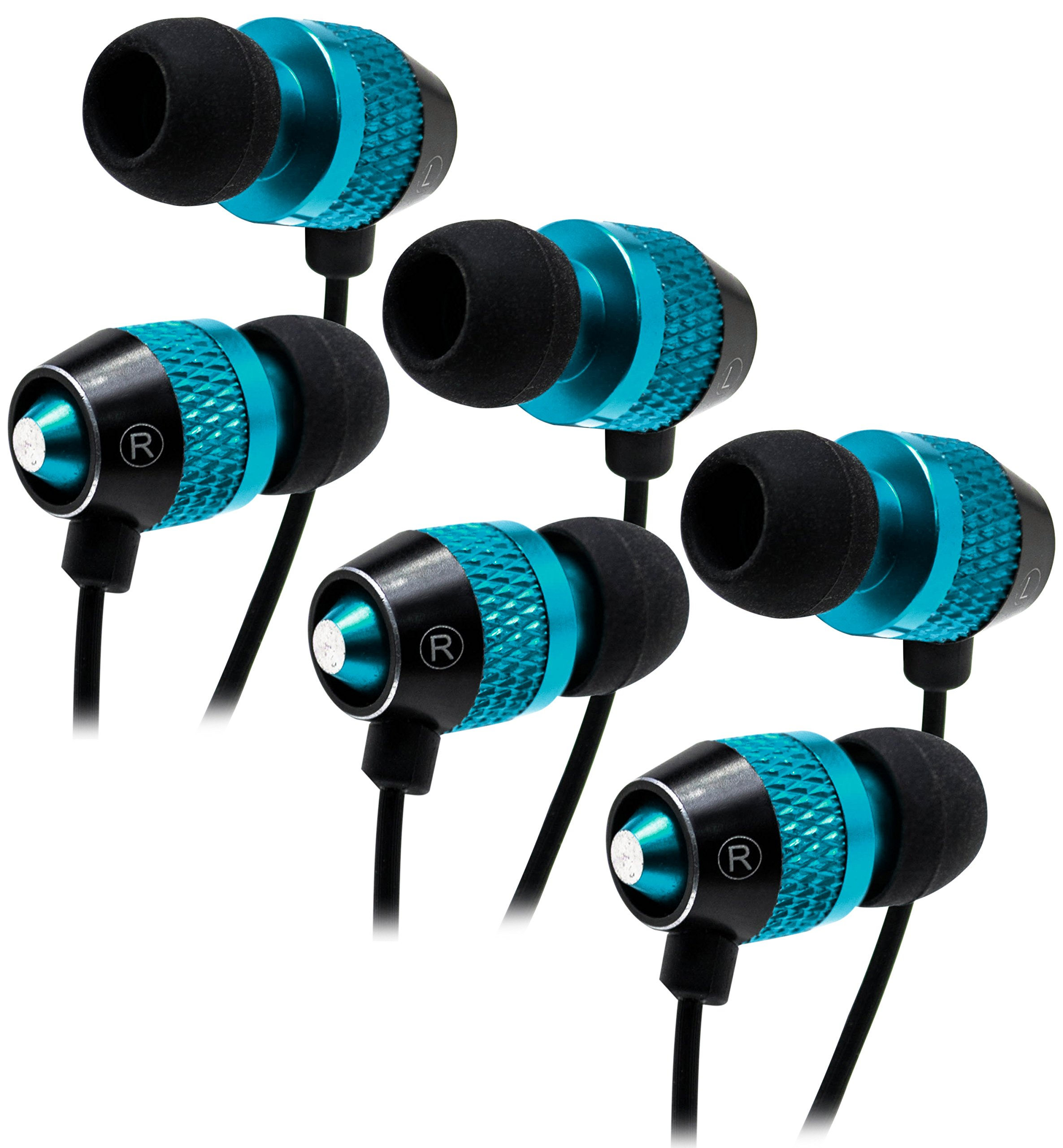 Bastex Universal Blue Earphone/Ear Buds (3 pk),3.5mm Plug, Bass Stereo Headphones in-Ear,Tangle Free Cable Built-in Microphone Earbuds iPhone iPod iPad Samsung Android Mp3 Mp4 More
