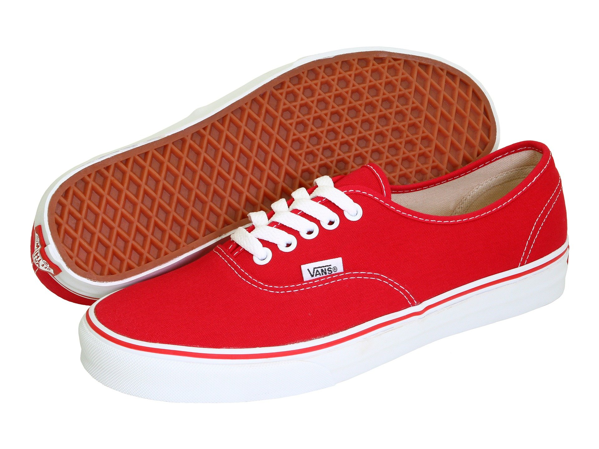 Vans Mens Authentic Core Classic Sneakers (Red Canvas) (11)
