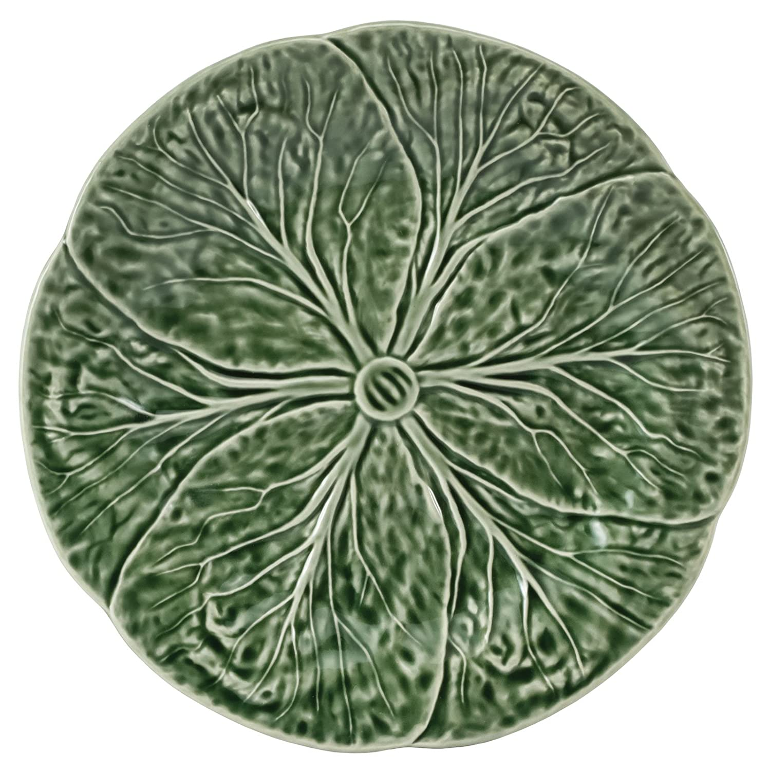 Christmas Tablescape Décor - Majolica Green Cabbage Leaf Pottery Dinner Plate - Set of 2 by Traders and Company