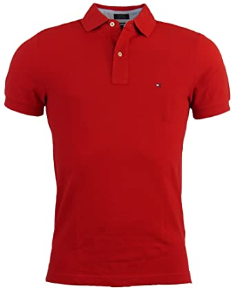 a03aac14 Tommy Hilfiger Mens Custom Fit Solid Color Polo Shirt (XXX-Large, Red)