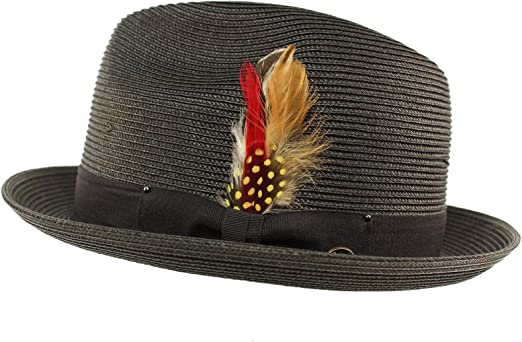 Mens Ladies Navy Packable Straw Summer Trilby  Hat With Band and  Feather New