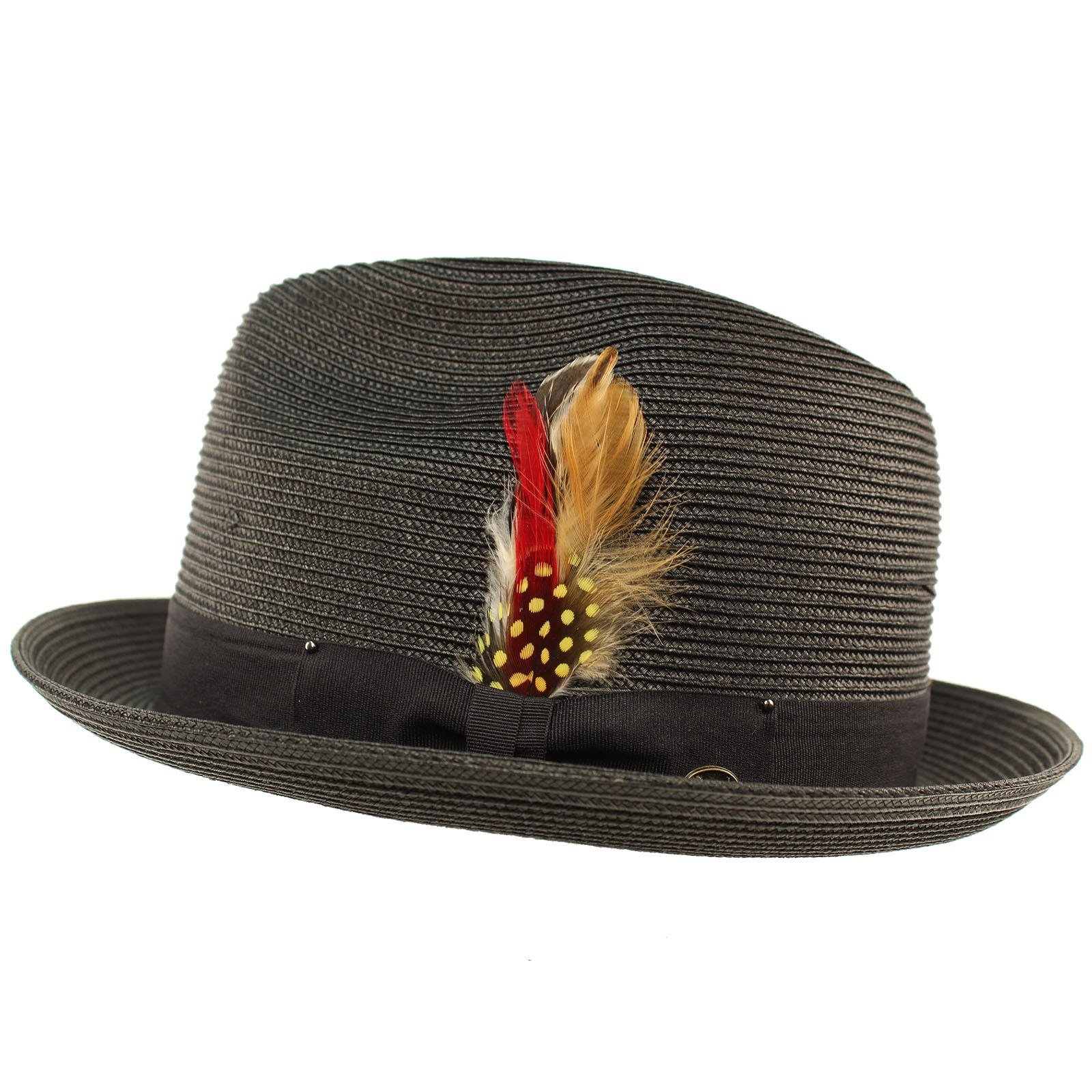 SK Hat shop Men's Light Removable Feather Derby Fedora Wide Curled Brim Hat L/XL