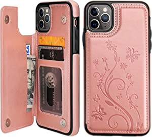 Vaburs iPhone 11 Pro Max Case Wallet with Card Holder, Embossed Butterfly Premium PU Leather Double Magnetic Buttons Flip Shockproof Protective Cover for iPhone 11 Pro Max 6.5 Inch(Rose Gold)