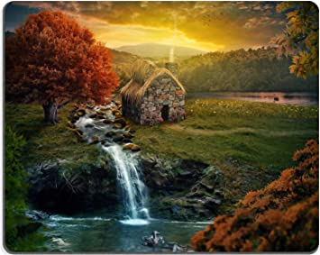 Luxlady Gaming Mousepad Image ID 35712991 Beautiful Nature Scene with Cottage in The Mountains Near a Stream