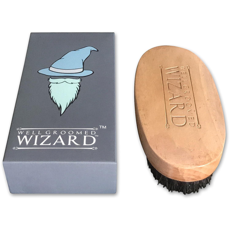 Well Groomed Wizard Cepillo Barba, Cerdas De Jabali Para La Barba, El Bigote Y El Del Pelo | Utilizar Con Aceites, Bálsamos Y Cera | El Regalo Perfecto De Alta Calidad