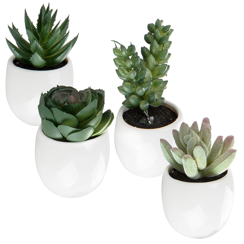 MyGift Set of 4 Mini Faux Succulent Plants in Magnetic-Mount White Ceramic Planters