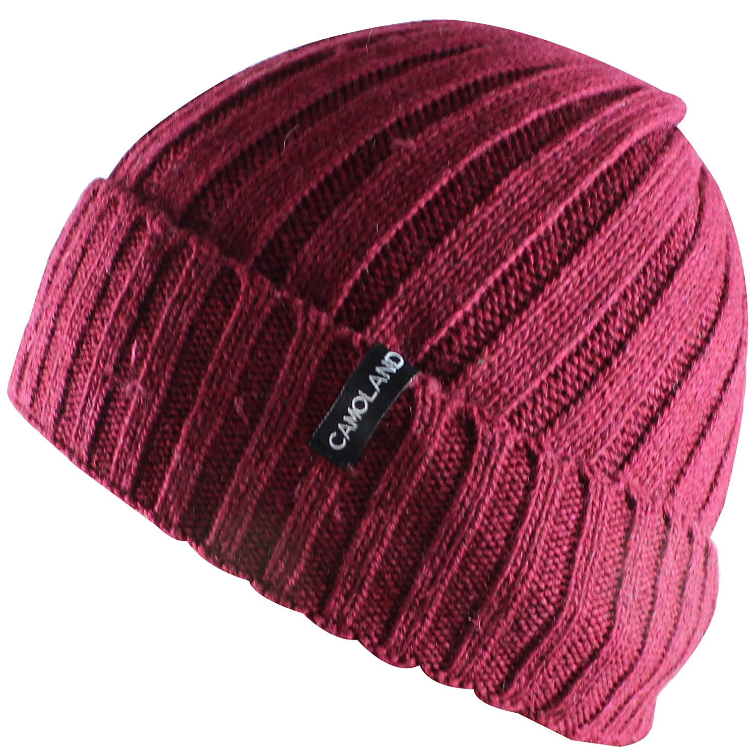 CAMOLAND Men's Fleece Wool Cable Knit Winter Beanie Hat EWH001-BK