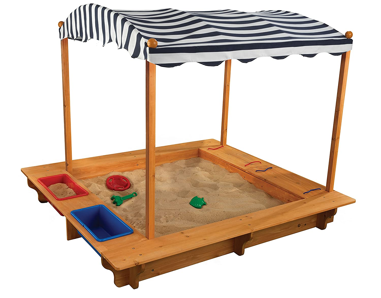 KidKraft Outdoor Sandbox w Canopy, Wood, Natural, 163x153x130 cm
