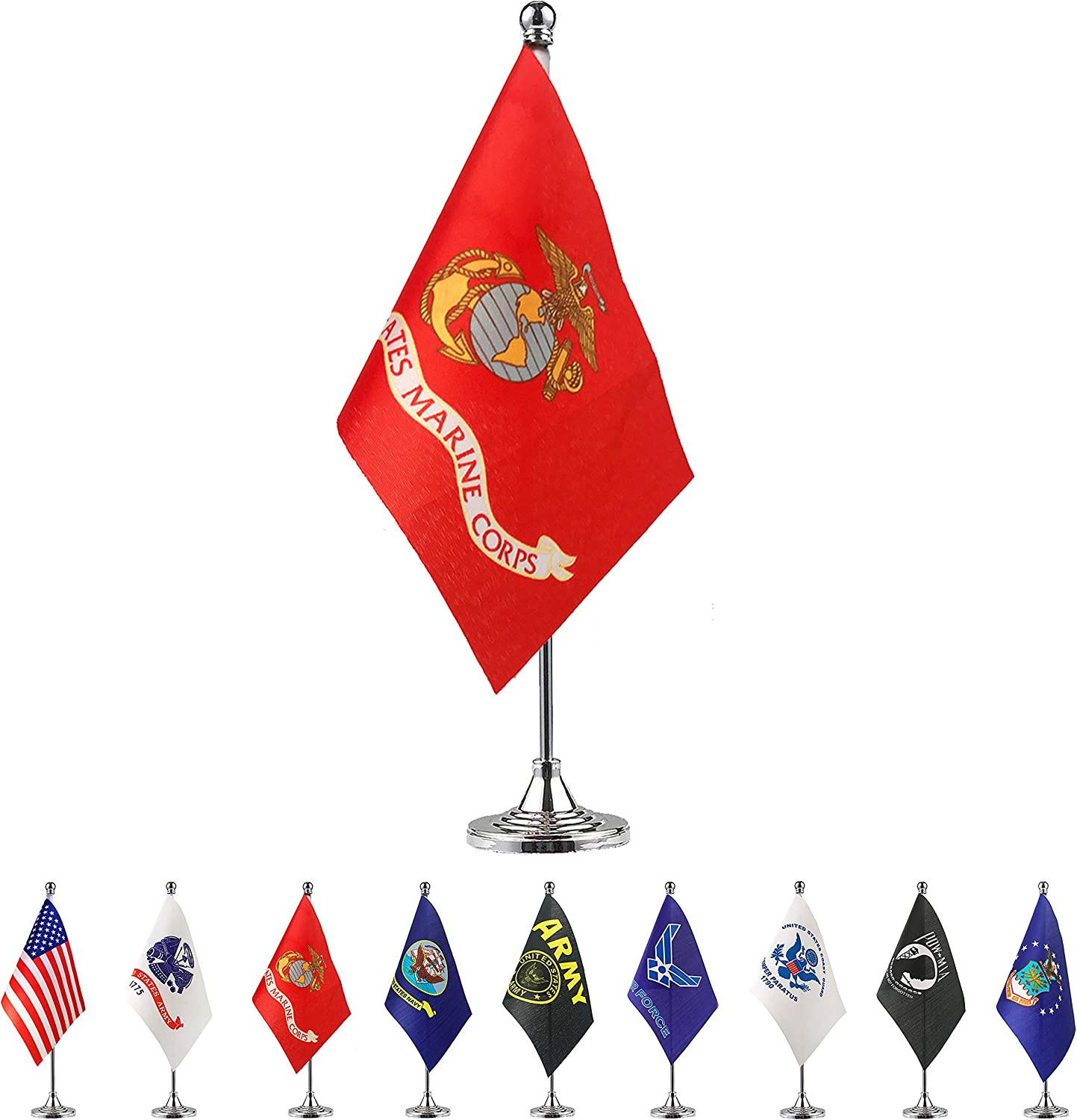 TSMD US Marine Corps Desk Flag Small Mini United States Military Table Flags with Stand Base,Decorations Supplies for Army Party Events Celebration