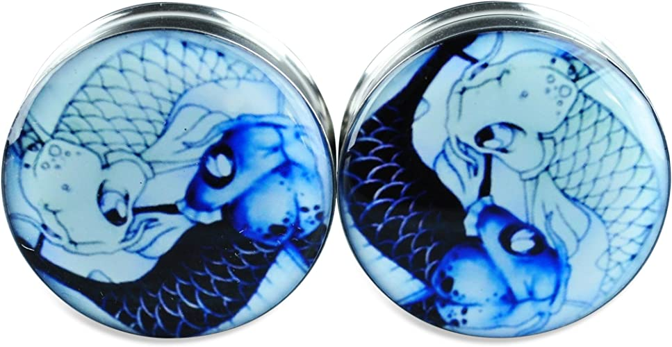 Pair Stainless Steel Ear Plugs Flesh Stretchers Gauges Screw Koi Yin Yang