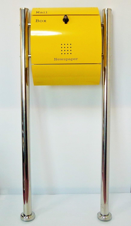 郵便ポスト郵便受け北欧モダンデザイン大型メールボックススタンド型プレミアムステンレスイエロー黄色ポストpm031s B071VVSVFB 21880