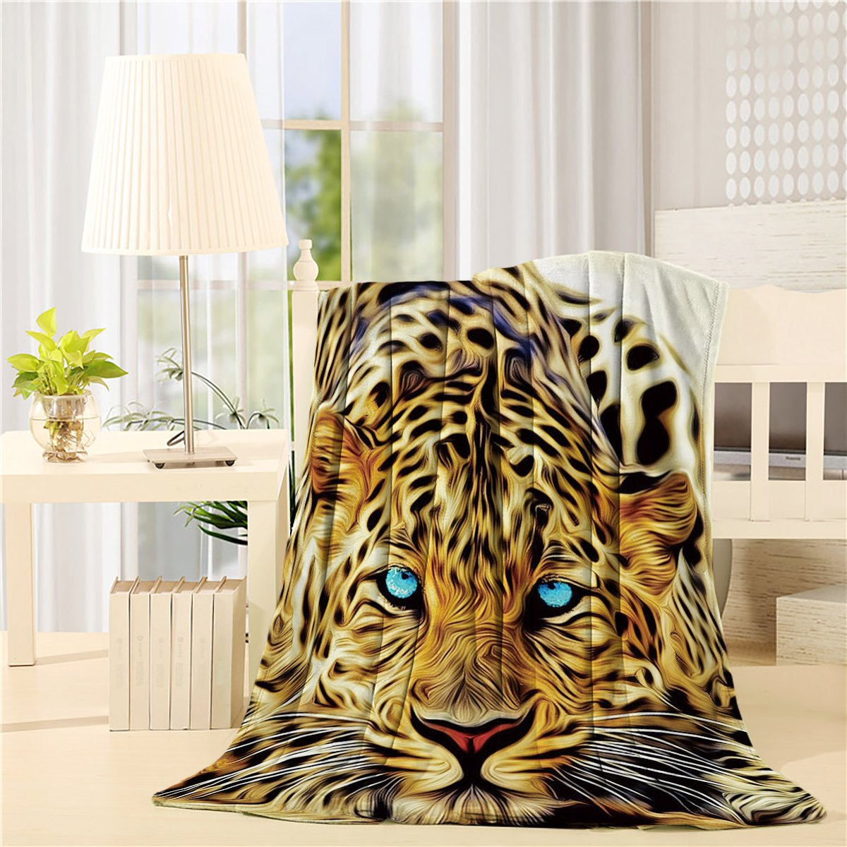 Flannel Fleece Bed Blanket 60 x 80 inch Animal Throw Blanket Lightweight Cozy Plush Blanket for Bedroom Living Rooms Sofa Couch - Special Effect Leopard Big Cat Blue Eyes Wild Animal