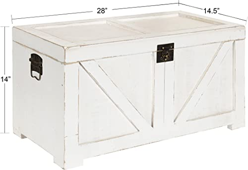 Gold Leaves Large Wood Storage Trunk Wooden Treasure Chest