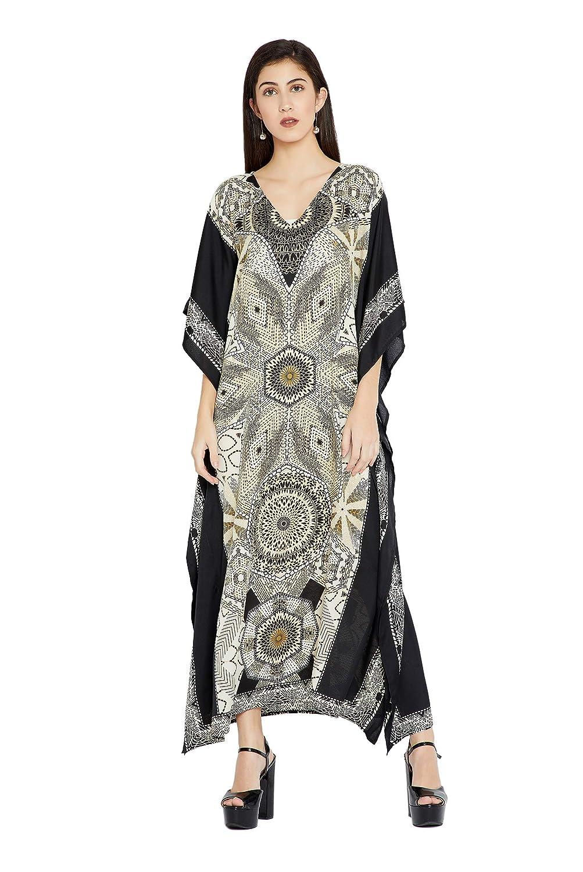 Goood Times Black & White Geometric Long Kaftan Kimono Maxi Dress Plus Size  Caftan Gown Nightdress Kimono Women