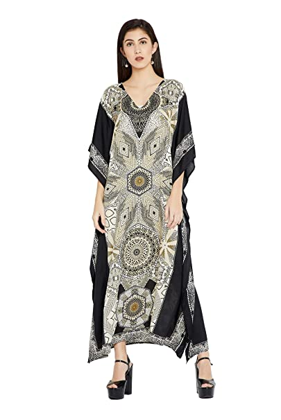 553728d6a2aef Image Unavailable. Image not available for. Color  Goood Times Black    White Geometric Long Kaftan Kimono Maxi Dress Plus ...