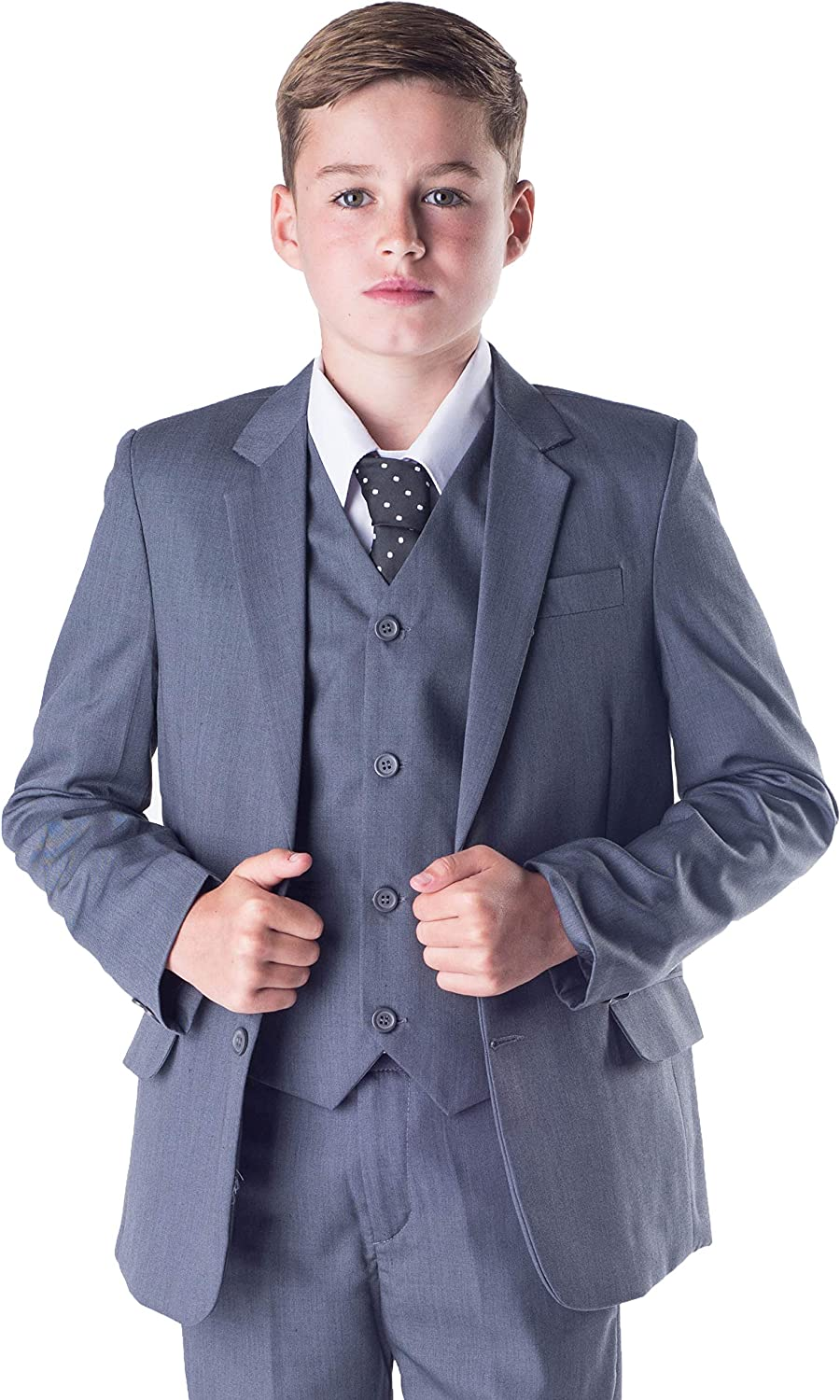 Boys Suits Romario Boys Grey Suit 5 Piece Wedding Party Formal Outfit Prom