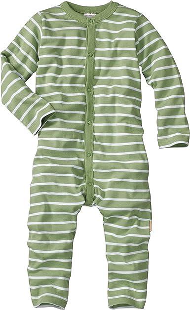 WELLYOU Pijamas para bebés y niños, Pijamas de una Pieza 100% Hecho de algodón, Color Verde con Rayas Blancas. Tallas 56-134