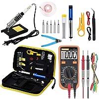 Soldering Iron Kit Electronics, 19-in-1 60w Adjustable Temperature Soldering Iron Set with Digital Multimeter