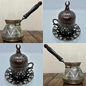 Amazon.com | Large Size Turkish 100% Copper Engraved Lux Coffee Pot, 2 Units Tea-Coffee Spoons ...
