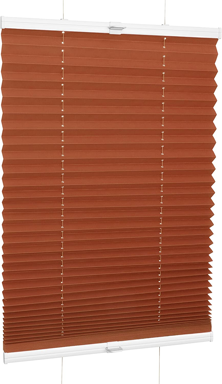 ROLLMAXXX Plissee Faltstore Faltrollo Rollo Fensterrollo Klemmfix ohne Bohren 40 x 160 cm, Orange