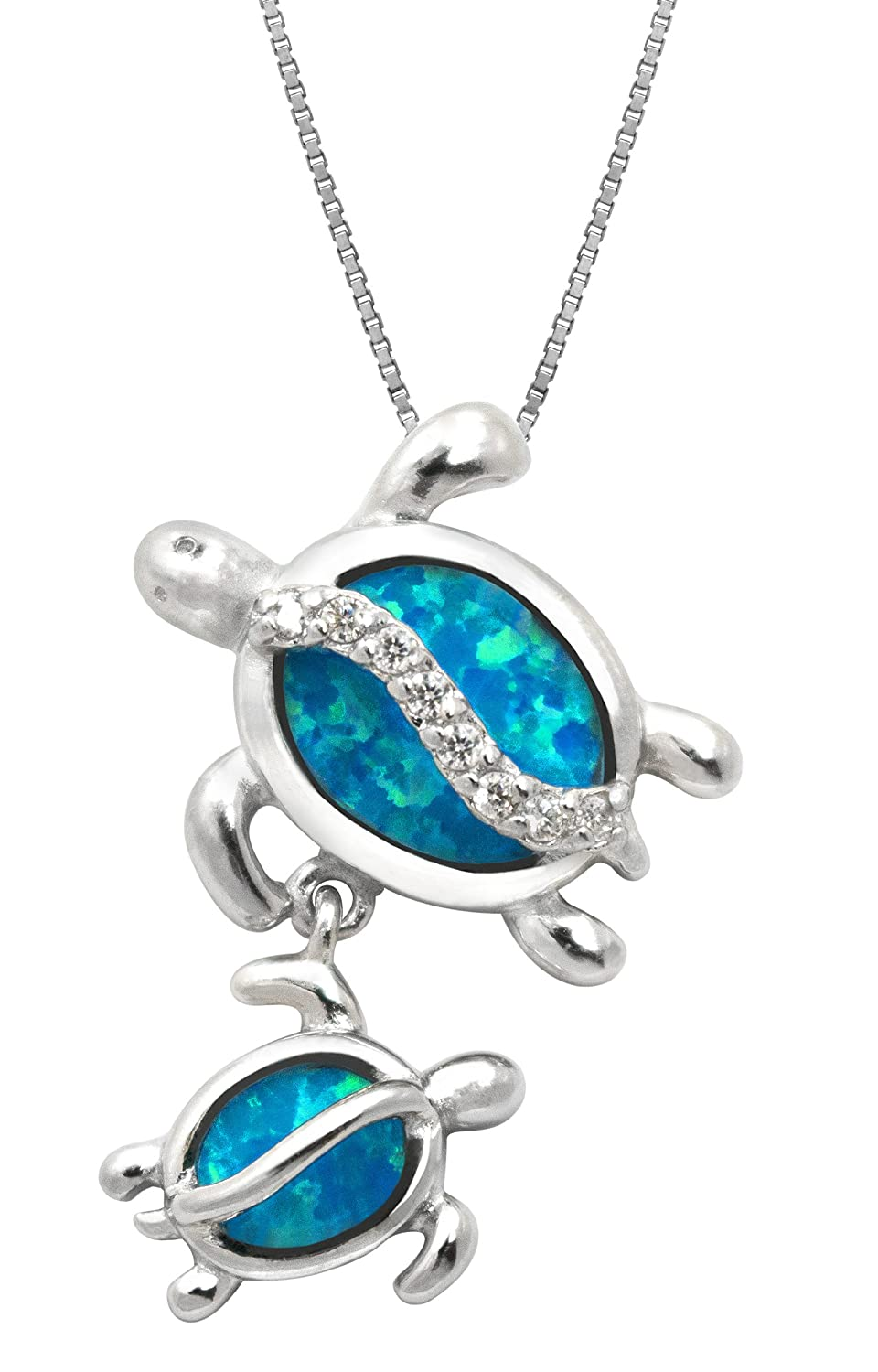 opal index blue silver necklace pendant sterling aztec surround